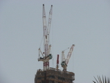 cranes at the top of burj dubai